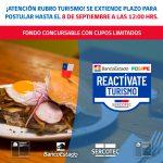 Se aplaza fecha de postulación a Programa REACTÍVATE TURISMO FOGAPE BANCO ESTADO DE SERCOTEC